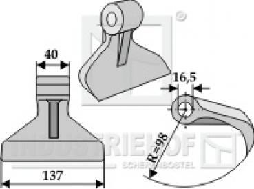 2-fach-Y-Messer Schlegelmesser passend für Müthing Mulcher