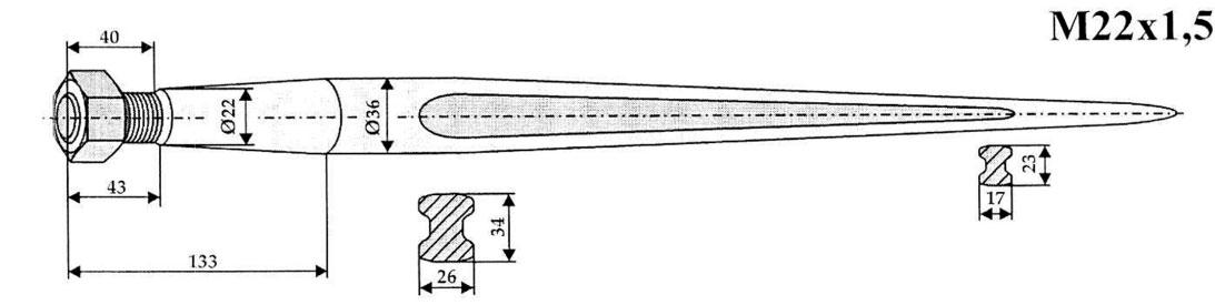Frontlader 1100mm Frontladerzinken Ballenzinken Zinken f